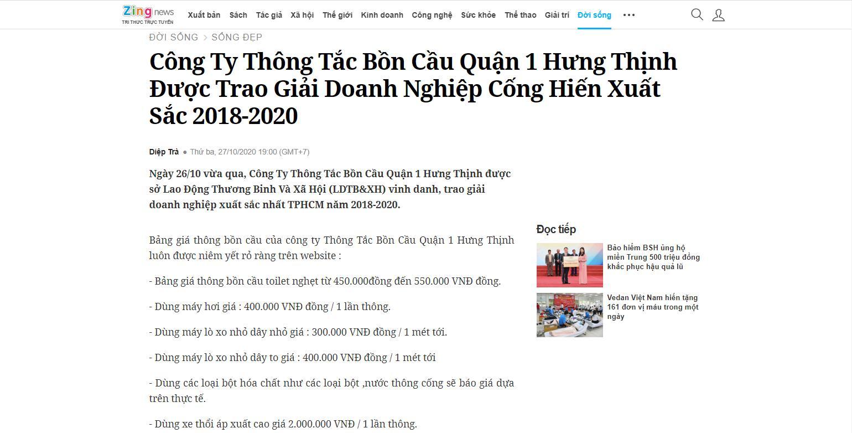 Báo Zingnews nói về công ty Thông Tắc Bồn Cầu Quận 1 Hưng Thịnh